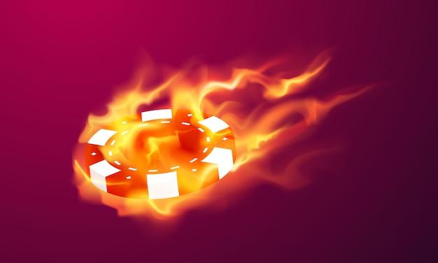 Casino en ligne. expédie le feu, la machine à sous, les jetons de casino volant des jetons réalistes pour les jeux de hasard, de l'argent pour la roulette ou le poker,
