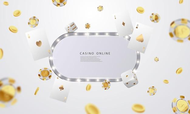 Casino en ligne. smartphone ou téléphone portable, machine à sous, jetons de casino volant des jetons réalistes pour le jeu, de l'argent pour la roulette ou le poker,