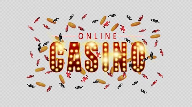 Casino en ligne, symbole de style casino vintage avec ampoules dorées isolées sur fond blanc. signez avec des jetons de casino et des pièces d'or qui volent autour