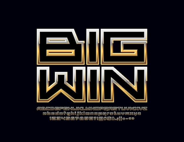 Casino logo big win. lettres, chiffres et symboles de l'alphabet élégant. police de luxe dorée.