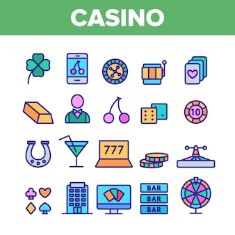 Casino play elements icons set