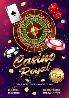 Casino roulette gagne une bannière de vecteur réaliste