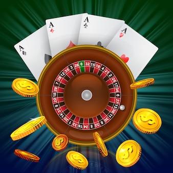 Casino roulette, quatre as et pièces d'or volantes. publicité d'entreprise de casino