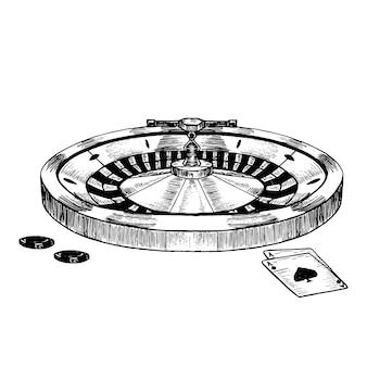 Casino roulette wheel hand draw sketch style rétro vintage.
