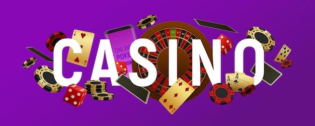 Casino signe lettres poker club en-tête titre chapiteau bannière horizontale réaliste avec roue de roulette de cartes