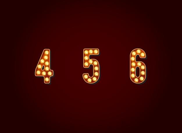 Casino ou signes de broadway ampoule de style chiffres chiffres caractère dans vector set