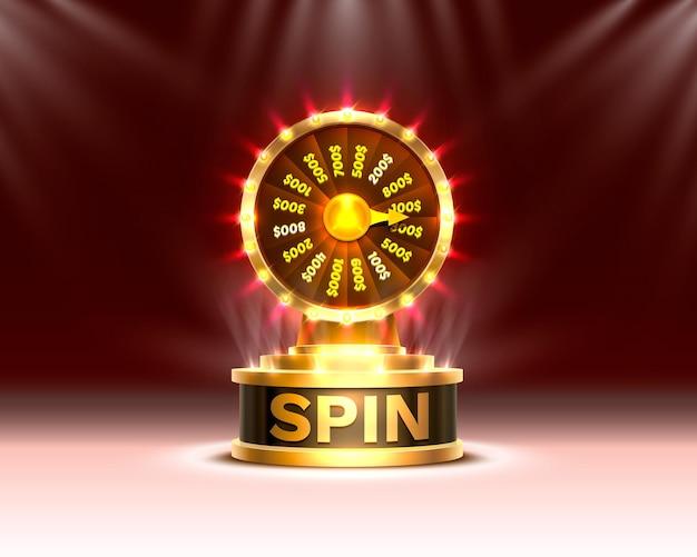 Casino spin roue de fortune colorée. mur de scène.