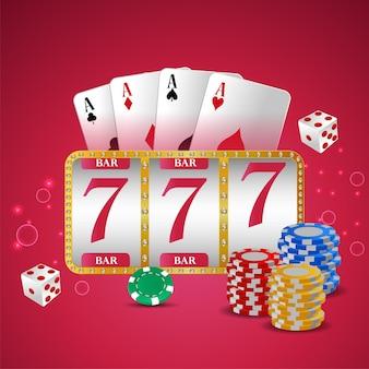 Casino vip de luxe avec machine à sous, jetons de casino et cartes à jouer
