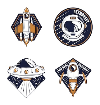 Casque d'astronaute de l'explorateur de l'espace, icônes d'insigne de conception d'ovni et de vaisseau spatial