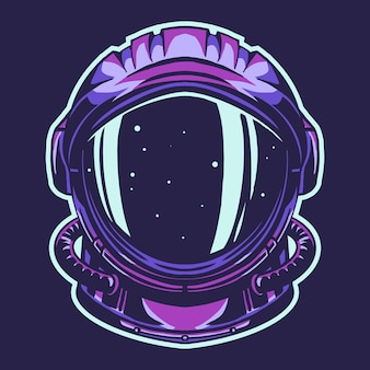 Casque d'astronaute isolé sur fond sombre