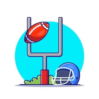 Casque et ballon de rugby sur le terrain