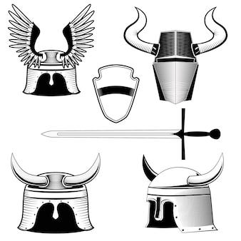 Casque de chevalier, bouclier et épée
