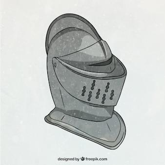 Casque de chevalier avec style dessiné à la main
