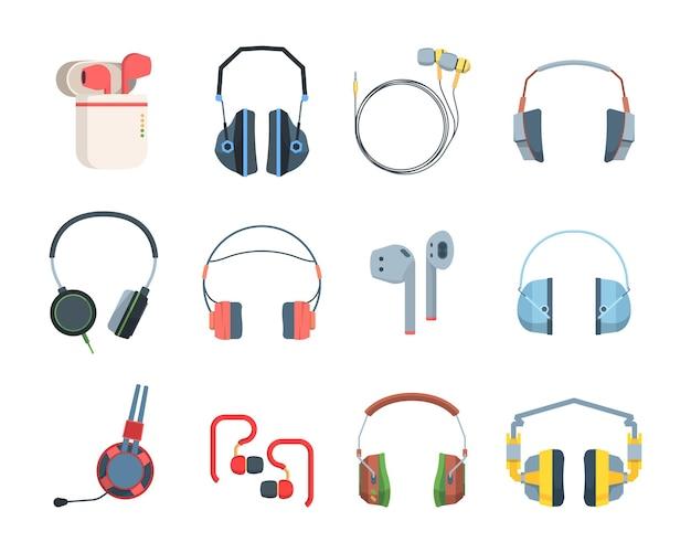 Casque de couleur grand ensemble. des joueurs spéciaux diffusent des fichiers audio et des écouteurs sans fil modernes et élégants qui écoutent des fichiers audio et de la musique portable pour smartphones, d'une excellente qualité sonore