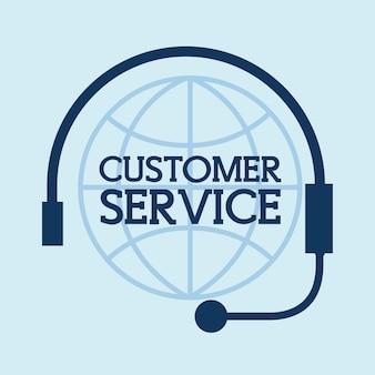 Casque dans l'illustration vectorielle de globe monde service client