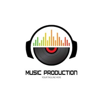 Casque dj, enregistrement de studio de musique, logo soundwave