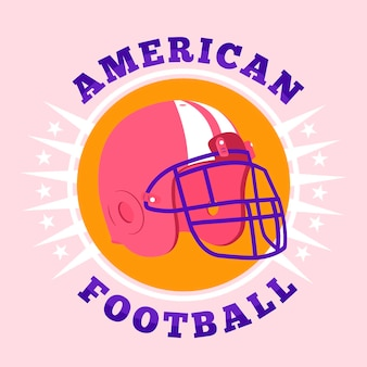 Casque de football américain design plat