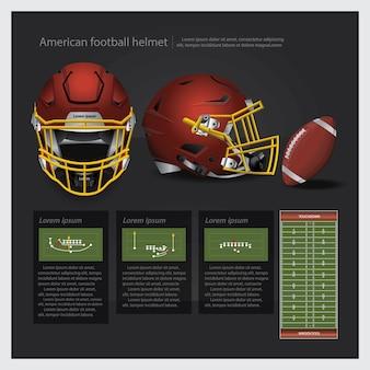Casque de football américain avec illustration vectorielle de plan d'équipe