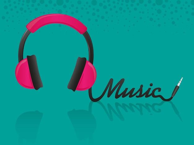 Casque formant le mot musique fond turquoise