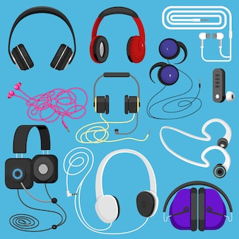 Casque illustration casque pour écouter de la musique pour dj et écouteurs audio illustration casque stéréo et écouteurs ensemble isolé