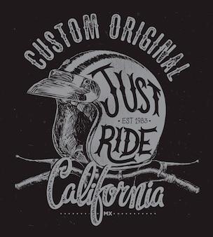 Casque just ride avec guidon, imprimé t-shirt.