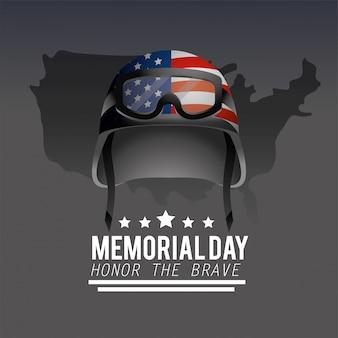 Casque militaire avec drapeau américain au jour du souvenir