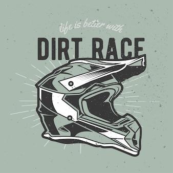Casque de motocross vintage dessiné à la main avec effet grunge et fond d'éclat d'étoile
