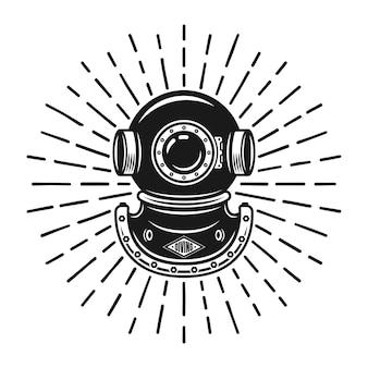 Casque de plongée dans un style vintage avec illustration vectorielle de rayons isolé sur blanc