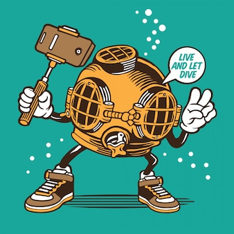 Casque de plongeur vintage selfie character design