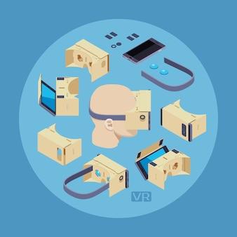 Casque de réalité virtuelle en carton sur le fond bleu. illustration conceptuelle adaptée à la publicité et à la promotion