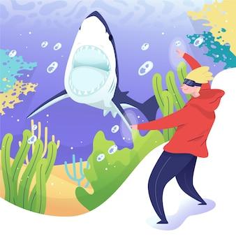 Casque de réalité virtuelle concept de vie marine