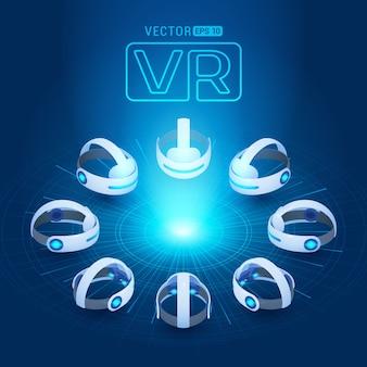 Casque de réalité virtuelle isométrique sur fond bleu foncé avec les cercles abstraits et la lumière