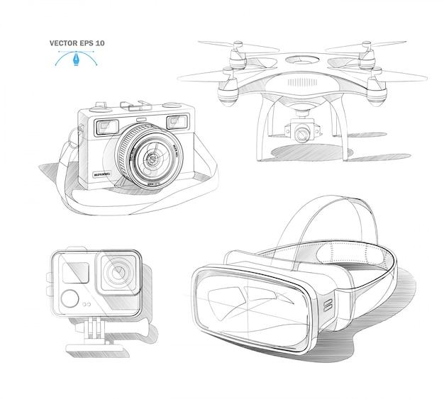 Casque de réalité virtuelle réaliste quad drone aérien, caméra d'action et ensemble de plans de photocaméra vintage
