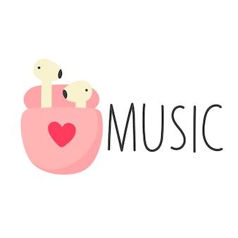 Casque rose lettrage style de dessin animé de musique