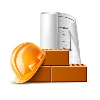 Casque de sécurité réaliste, maçons de briques blueprintl
