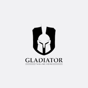Casque spartiate, modèle de logo de gladiateur