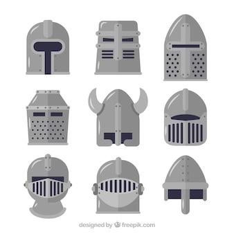 Casques médiévaux au design plat