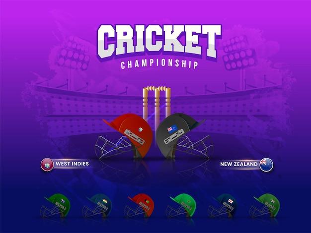 Casques des pays participants au match de cricket avec les antilles contre la nouvelle-zélande mis en évidence sur fond de stade de coup de pinceau violet.