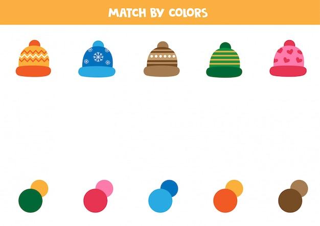 Casquette assortie avec des couleurs correctes. jeu logique pour les enfants.
