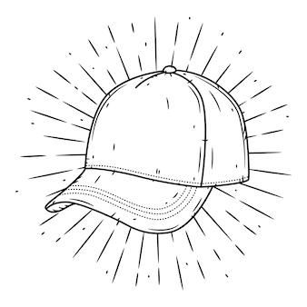 Casquette de baseball. illustration dessinée à la main avec une casquette de baseball et des rayons divergents.