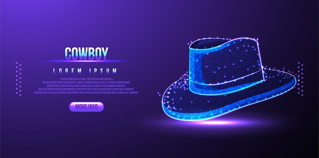 Casquette cowboy low poly wireframe