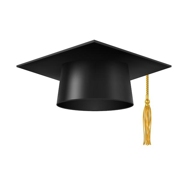 Casquette de diplômé avec pompon. chapeau carré d'étudiant d'université, de collège ou d'académie isolé avec un gland doré. diplôme d'études universitaires et secondaires, professeur et connaissances symbole vectoriel réaliste 3d
