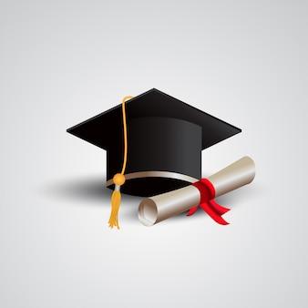 Casquette de graduation 3d avec illustration de certificat papier