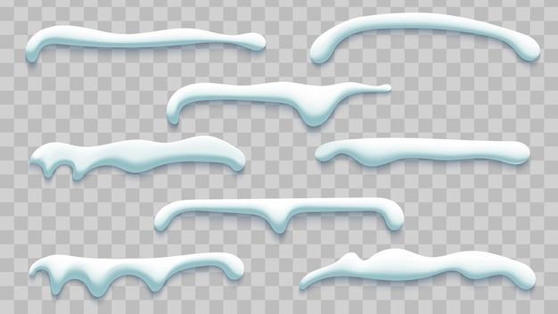 Casquettes de neige d'hiver sur fond transparent