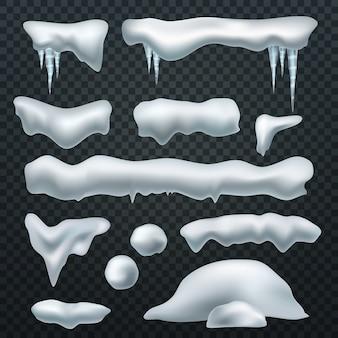 Casquettes de neige réalistes.