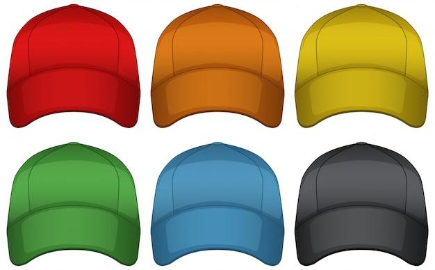 Casquettes de six couleurs différentes