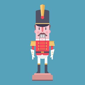Casse-noisette vecteur personnage de dessin animé jouet soldat isolé