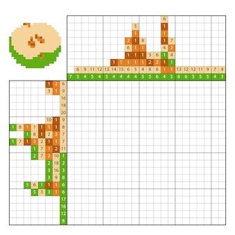 Casse-tête peinture par numéro (nonogramme), jeu éducatif pour enfants, pomme