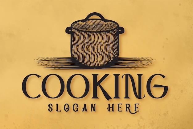 Casserole dessinée à la main, logo de restaurant de cuisine designs inspiration