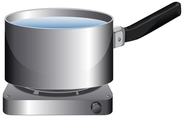 Une casserole avec de l'eau sur la cuisinière en style cartoon